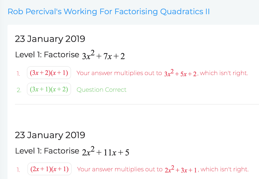 See Your Maths Class Lines of Work and Answers - Blutick Online Maths