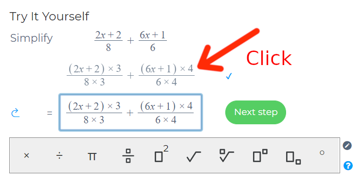 Question indicating where to click to to copy working on to the next line