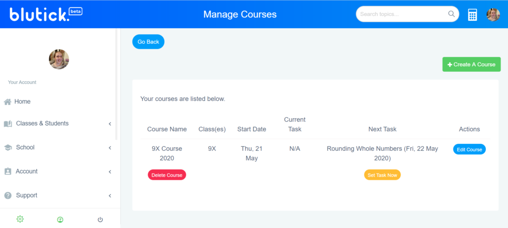Create A Course For My Maths Class - Manage Existing Courses