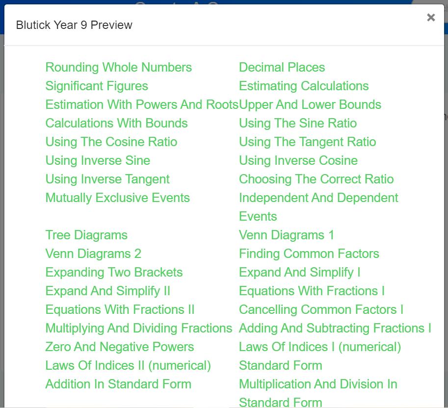 How Do I Create A Course For My Class - List of Maths Topics