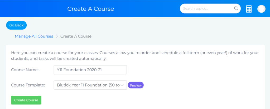 Create a Course page