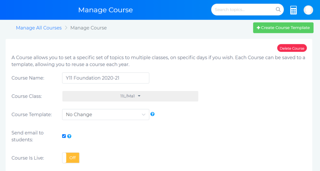 Manage Course page