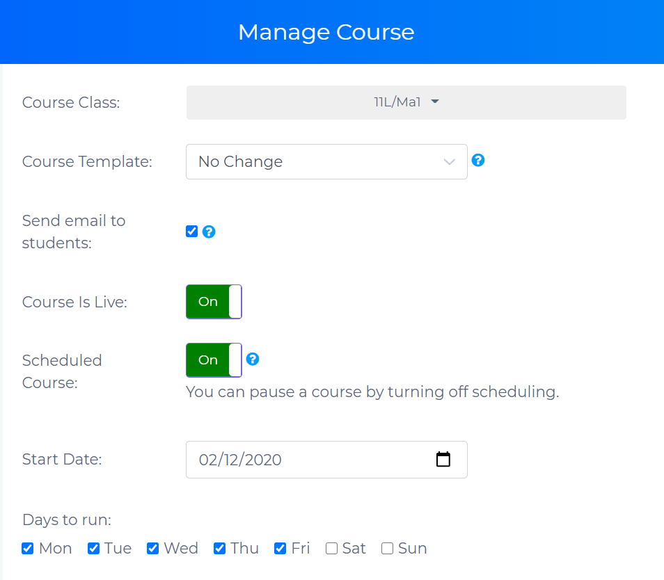 Manage Couse page showing scheduling options