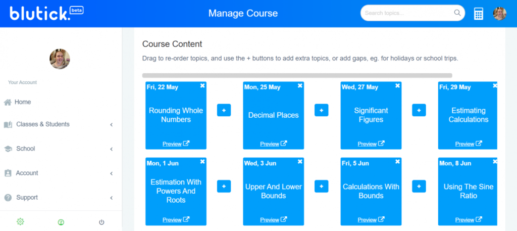 Create A Course For My Maths Students - Drag to Reorder Topics