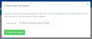 How To Set a Test for My Students Create Test Template Popup - Blutick Maths Online