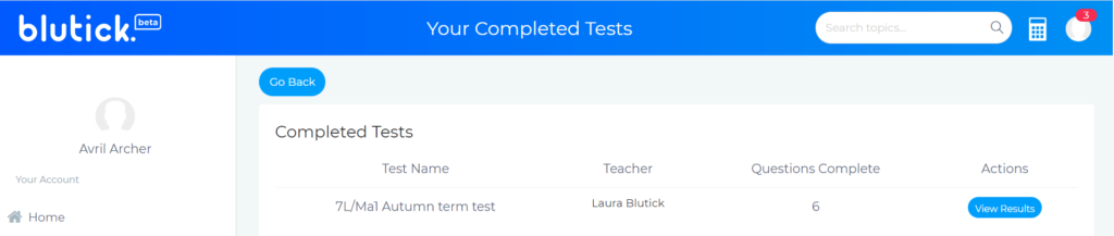 How To Set a Test for My Students View Test Results - Blutick Maths Online
