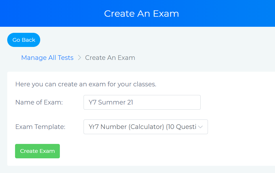Create an Exam page showing Y7 maths exam selection