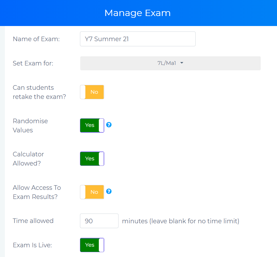 Manage Exam page showing toggles for customisation of end of year maths exam